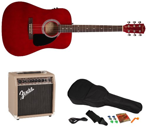 Fender Fa-200 Acoustic-Electric Guitar Pack With Acoustasonic 15 Amp And Rock Prodigy Instructional Software, Transparent Red