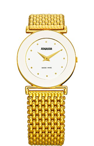 Jowissa Elegance Women's Quartz Watch with White Dial Analogue Display and Gold Stainless Steel Bracelet J3.020.M