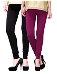 2Day Women's Cotton Churidaar Legging Wine/Black (Pack Of 2)
