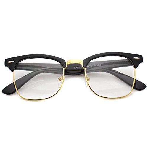 Half Frame Clear Lens Glasses : Vintage Inspired Classic Half Frame Clubmaster Horn Rimmed ...
