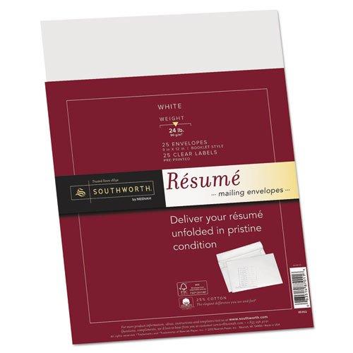 Southworth - 25% Cotton Resume Envelopes,White, 24 Lbs., 9 X 12, Wove, 25/Box Rf6Q (Dmi Bx