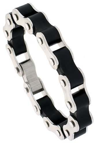 Stainless Steel & Rubber Bicycle Chain Bracelet Thick 1/2 inch wide, 8 inch long