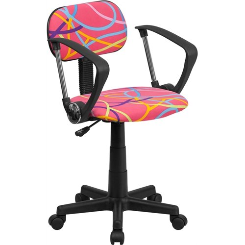 Flash Furniture Bt-Oly-A-Gg Multi-Colored Swirl Printed Pink Computer Chair With Arms, Pink/Purple/Yellow/Orange/Turquoise