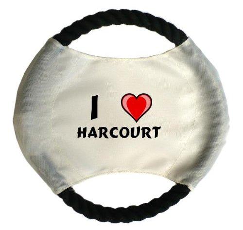 personalisierter-hundefrisbee-mit-aufschrift-ich-liebe-harcourt-vorname-zuname-spitzname