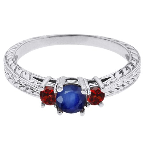 0.60 Ct Round Blue Sapphire Red Garnet 18K White Gold 3-Stone Ring