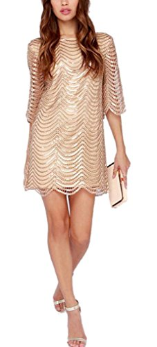 hodooyee Golden Half Sleeve Hollow Out Stripe T-shirts Dresses