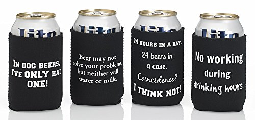 Funny Beer Quote Cozy Set (4 Pack) ~ Premium-Quality
