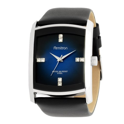 Armitron Men's 204604DBSVBK Dress Swarovski Crystal Accented Silver-Tone Black Leather Strap Watch
