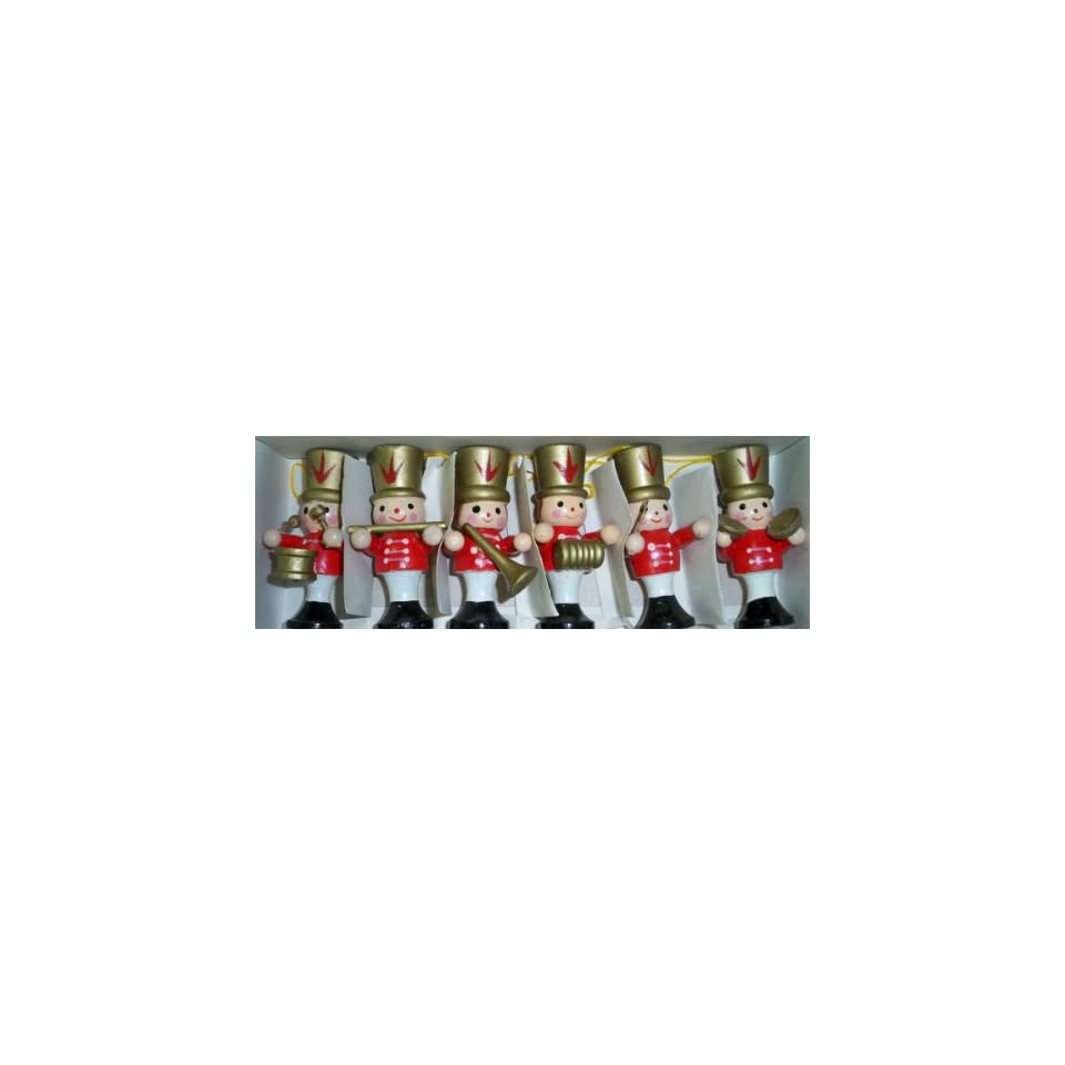 Set of Six Wooden Soldier Nutcrackers in Band Christmas Ornaments