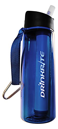 DrinkRite Water Bottle Survival Filter Filtration System. Hydration Purifier for Camping Outdoors Home. Eliminates 99.9% of Waterborne Bacteria & Parasites. Portable Reusable. BPA Free Tritan. (Sawyer Water Filter Bottle compare prices)