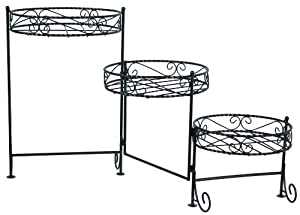 River Cottage Gardens SPS986 3-Tier Dark Bronze Metal Construction Scroll Plant Stand