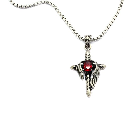 2 PIECE SET: Vintage 19-Inch Stainless Steel Rolo Chain Necklace With synthetic Ruby Inlaid Winged Cross Pendant (LIFETIME WARRANTY)