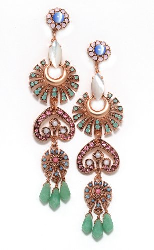 24K Rose Gold Plated Splendid Dangle Earrings from 'Flow' Collection Created by Amaro Jewelry Studio Adorned with Amazonite, Blue Lace Agate, Pearl, Swarovski Crystals and Falling Tear Drops