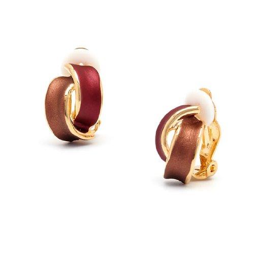 Rodney Holman Red Enamel Bow Clip On Earrings