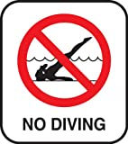 No Diving Pool Safety Sign With Image - Stick-on Vinyl