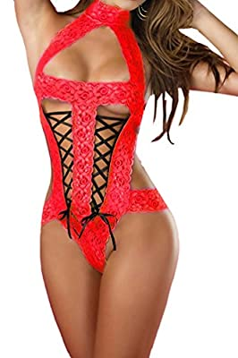 Silvia's Wand(R) Women's Sexy Halterneck Lace Teddy Lingerie Sheer Bodysuit Babydoll One Piece Tight