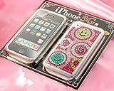 【SoftBank 専用】 iPhone専用 液晶保護フィルム&ジュエリーストーンステッカー スマイルトリオ
