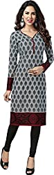 SDM Women's Kurti Printed Cotton Dress Material Unstitched (P-122-Grey, Unstitched)