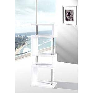Miami slim high gloss shelving unit white for Slim kitchen wall units