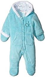 Calvin Klein Baby-Boys Newborn Silky Sherpa Pram, Blue, 0-3 Months
