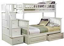 Hot Sale Columbia Staircase Bunk with Raised Panel Bed Drawers White/Twin/Full