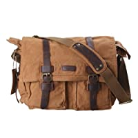 Kattee Classic Military Canvas Shoulder Messenger Bag Leather Straps Fit 17 Inch Laptop (Khaki) by Kattee