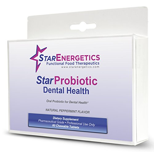 Starprobiotic Dental Health - 60 Chewable Tablets - Natural Peppermint Flavor | Steptococcus Salivarius Dsm 14685 | Oral Probiotic For Healthy Teeth And Gums | Dds-18