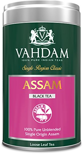 VAHDAM, Assam Tea, Tin Caddy, 100% Pure, Unblended, Single Origin Assam Black Tea, Loose Leaf Tea - Grown, Packaged & Shipped Direct from Source in India - Perfect Tea Gift Set - 3.53oz (Pack of 1) (Positively Assam compare prices)
