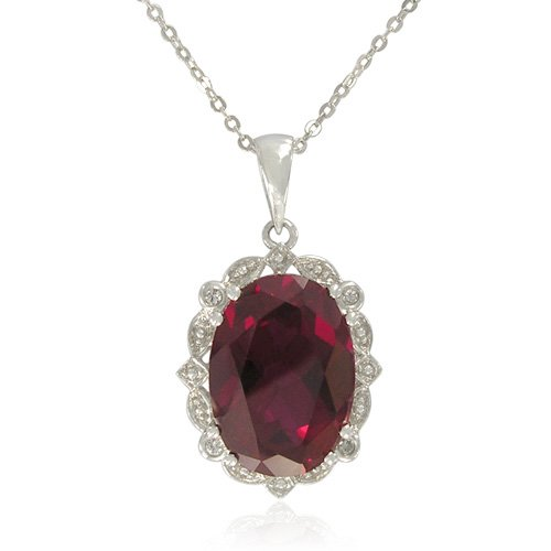Sterling Silver Oval-Shaped Created Ruby with Cubic Zirconia Accent Pendant Necklace , 18.5