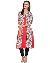 Solid Kali With Overlap Printed Kurti Large