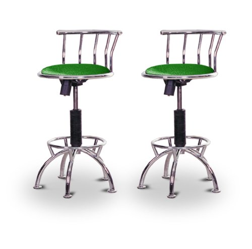 "2 24""-29"" Glitter Forest Green Seat Chrome Adjustable Specialty / Custom Barstools Set"