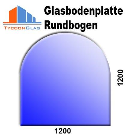 Glasbodenplatte für Kaminöfen Rundbogen 1200×1200 6mm