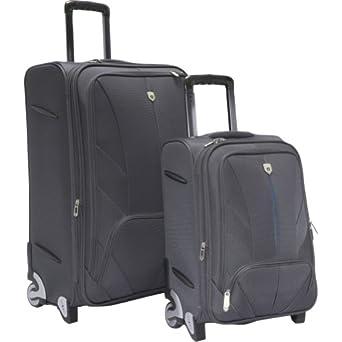 Travelers Club Luggage Monaco 2 Piece Exp Luggage Set (Grey w/ Blue)