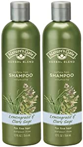 Natures Gate Volumizing Shampoo For Fine Hair - Lemongrass and Clary Sage - 12 oz- Pack of 2