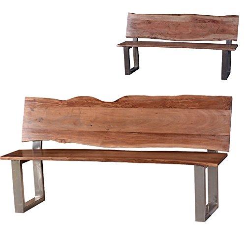 Sitzbank-mit-Lehne-Hector-Gartenbank-aus-Massivholz-Holzbank-2-Farben-Akazie-Formfrei-Essbank-wetterfest-robust-geeignet-fr-Flur-oder-Garderobe-Massivholzmbel-hohe-Qualitt-Matt-gebrstet
