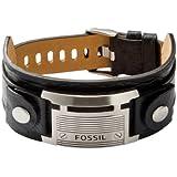 FOSSIL Herren Armband Edelstahl Leder schwarz 25 cm JF84816040