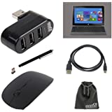EEEKit Starter Kit 5-in-1 for Microsoft Surface RT / 2, 3 Port USB 2.0 Hub+2.4G Wireless Optical Mouse+Micro HDMI to HDMI Cable + Touch Screen Stylus Pen + EEEKit Gift Pouch Bag for Free(6.5*4 Inch) (Microsoft Surface RT / 2, Starter Kit)