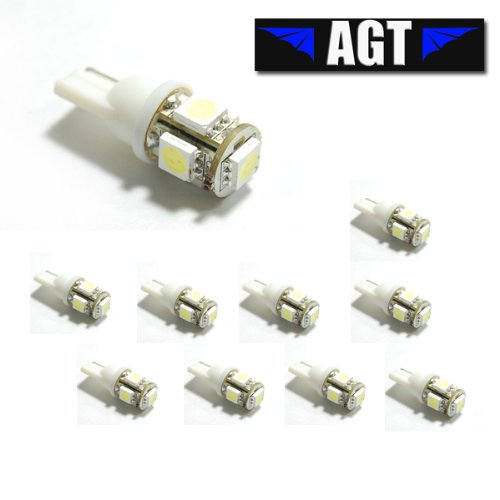 10x 194 168 2825 5-SMD White High Power LED Car