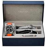 Nautica Men's Quartz Watch with Black Dial Analogue Display and Orange Leather Strap A15544G