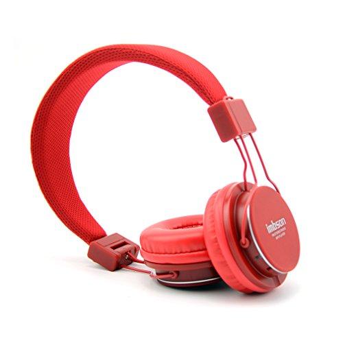 Granvela Imbson A802 Foldable Headphone Headset New Fashion Brand Music Player Wireless Handsfree Headset Headphones Earphone,Support Tf Card Fm Radio Monitor Portable Audio Pc --Red