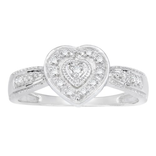 Sterling Silver 0.05cttw White Diamond Heart Promise Ring