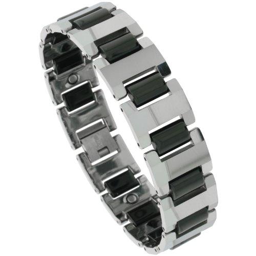 Sabrina Silver Tungsten 2-Tone (Gun Metal & Black) Bar Link Magnetic Bracelet, 5/8 in. (16mm) wide (BTN165)