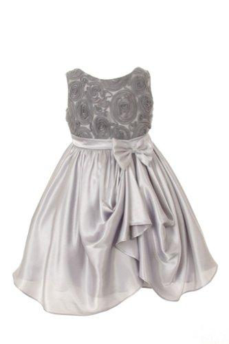 Satin With Tulle Rosette Formal Flower Girl Dress Silver - 6