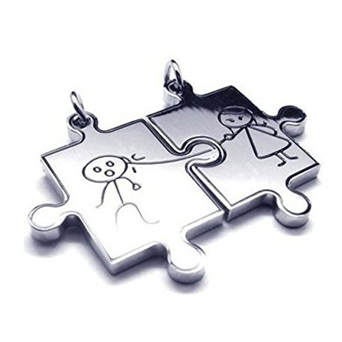 Letshopping® Stainless Steel Couple Necklace Pendant Personalized Soulmate Love Puzzles - 1
