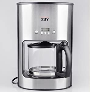 PHY 12-Cup/1.25L Programmable Switch Espresso Coffee Maker / Coffeemaker with Programmable Timer ...