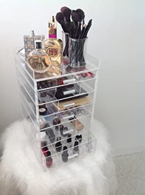 MAKEUP ORGANIZER BY MARQUESE. 6 DRAWER, INCLUDES REMOVABLE TOP TRAY, 6 REMOVABLE DRAWER DIVIDERS L28xH45xW28 cm