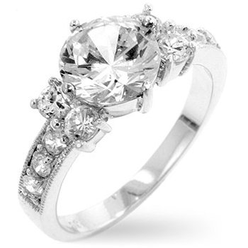 White Gold Rhodium Bonded Engagement Ring with Clear CZ in Silvertoneá