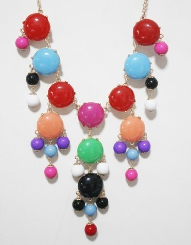 Wiipu Mixed color Women Bubble Bib Statement Fashion Necklace(wp-08)