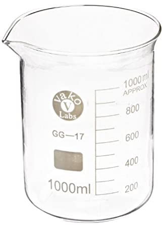 Ajax Scientific Borosilicate Glass Graduated Beaker, 1000mL: Amazon