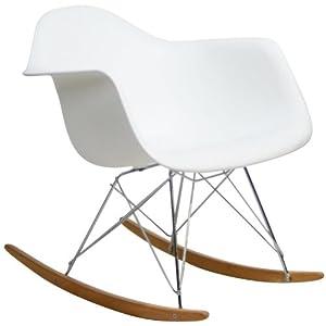 LexMod Molded Plastic Armchair Rocker in White